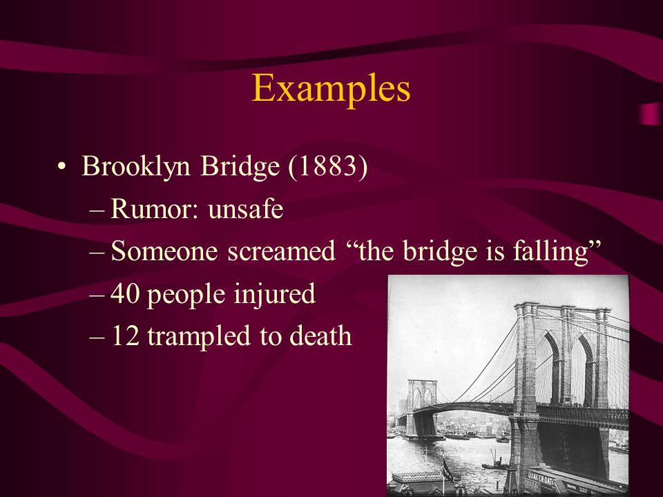 Examples Brooklyn Bridge (1883) Rumor: unsafe