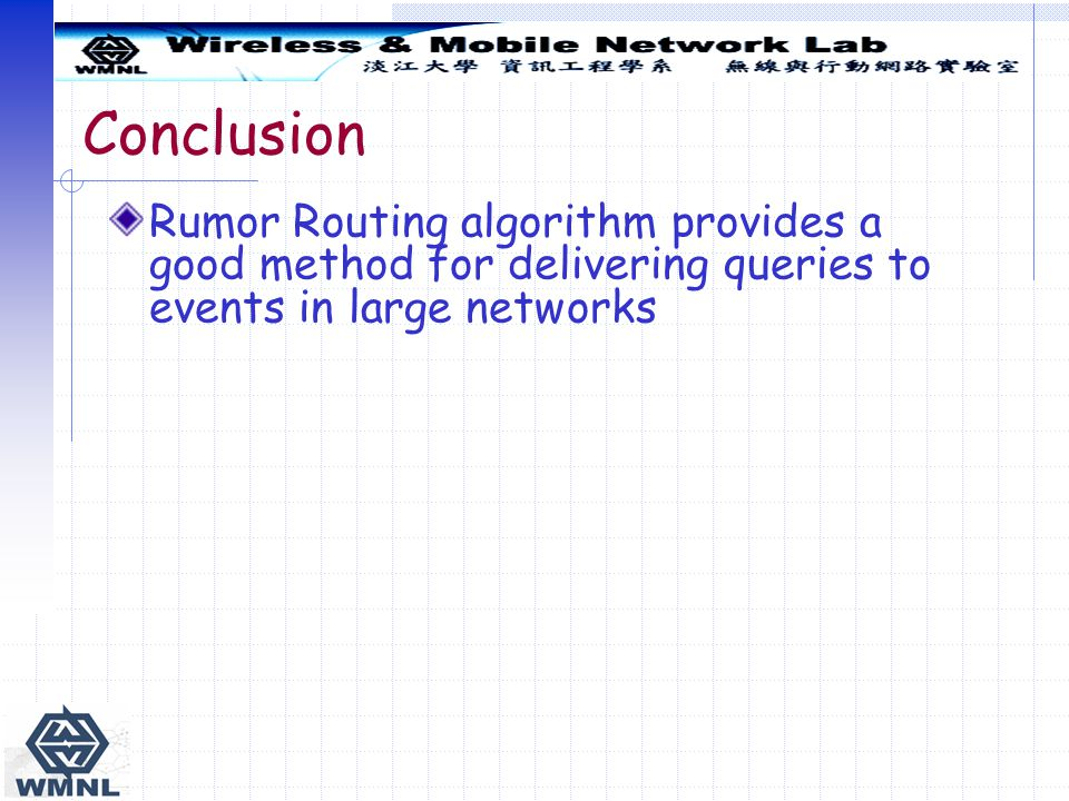 Conclusion Rumor Routing algorithm provides a good method for delivering queries to events in large networks.