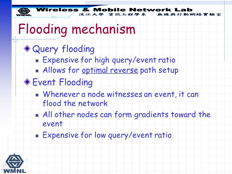 Flooding mechanism Query flooding Event Flooding