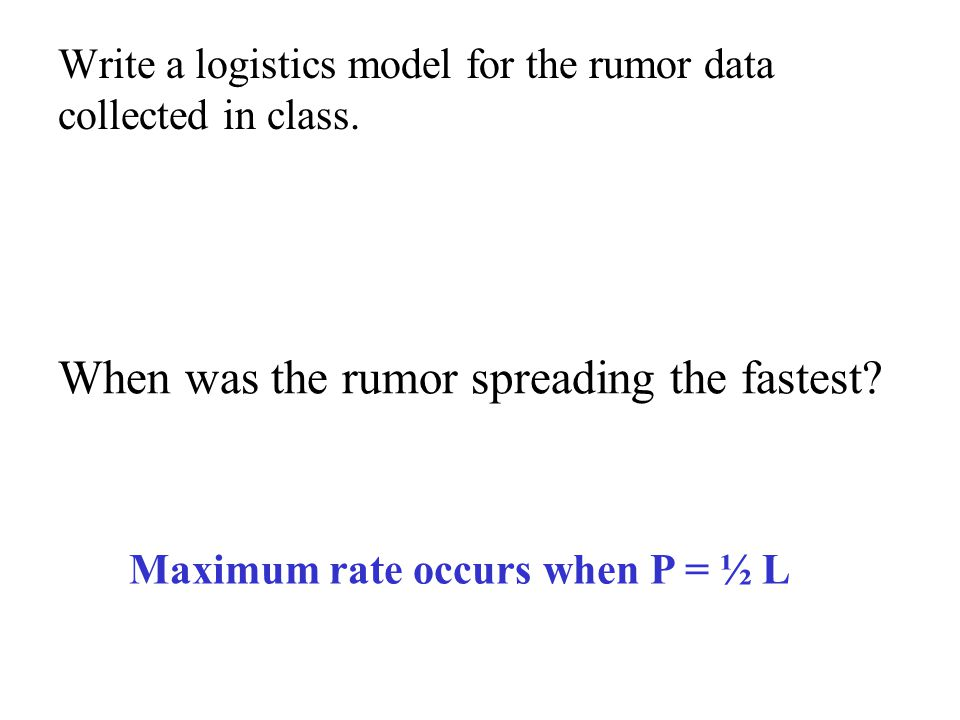 Write a logistics model for the rumor data collected in class.