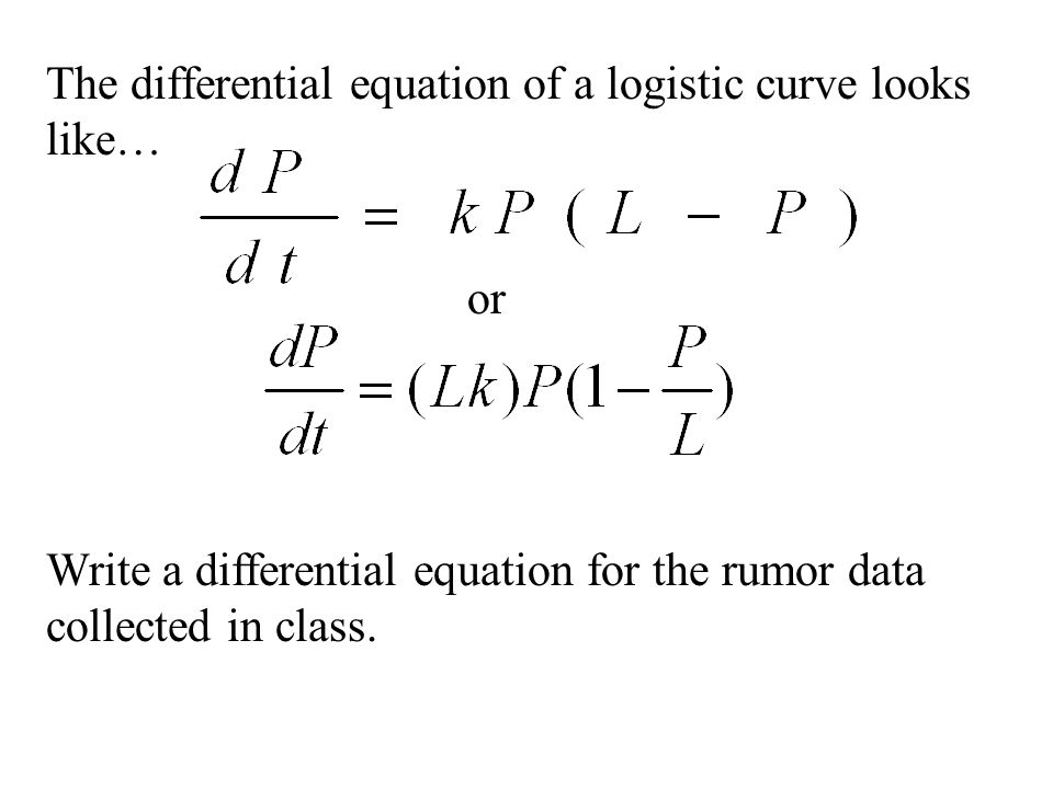 The differential equation of a logistic curve looks like…