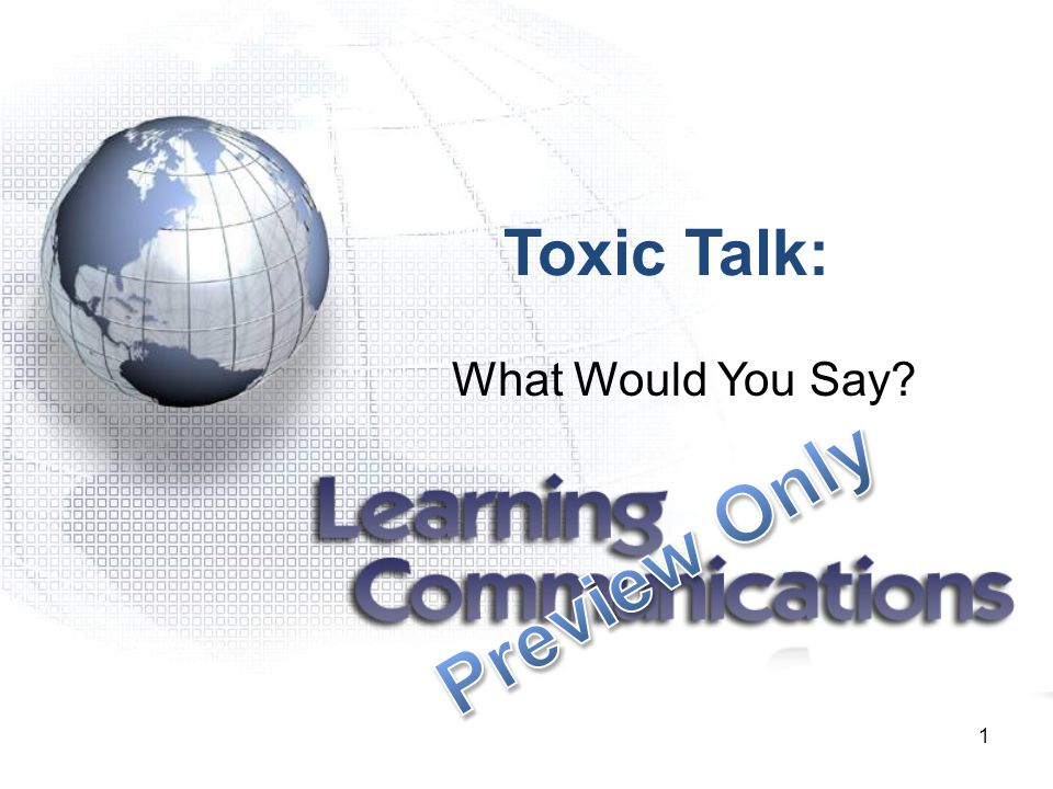 Toxic Talk: What Would You Say Preview Only 1 1