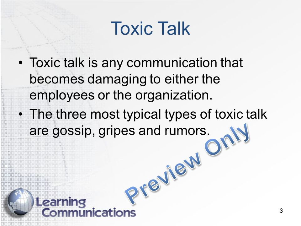 Preview Only Toxic Talk