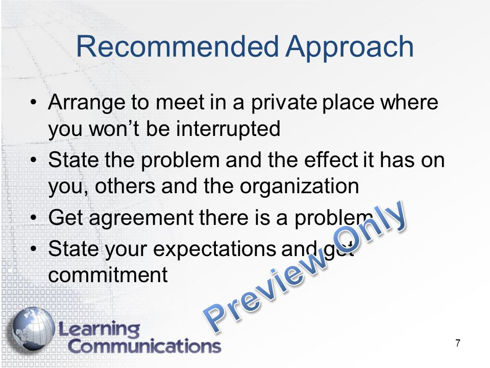 Preview Only Recommended Approach