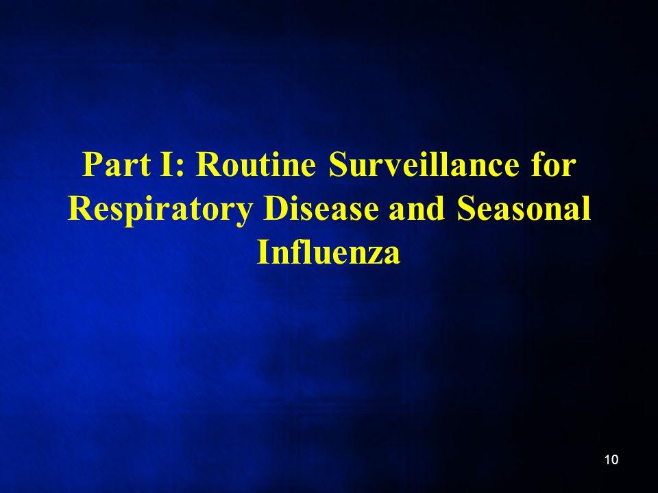 Part I: Routine Surveillance for Respiratory Disease and Seasonal Influenza