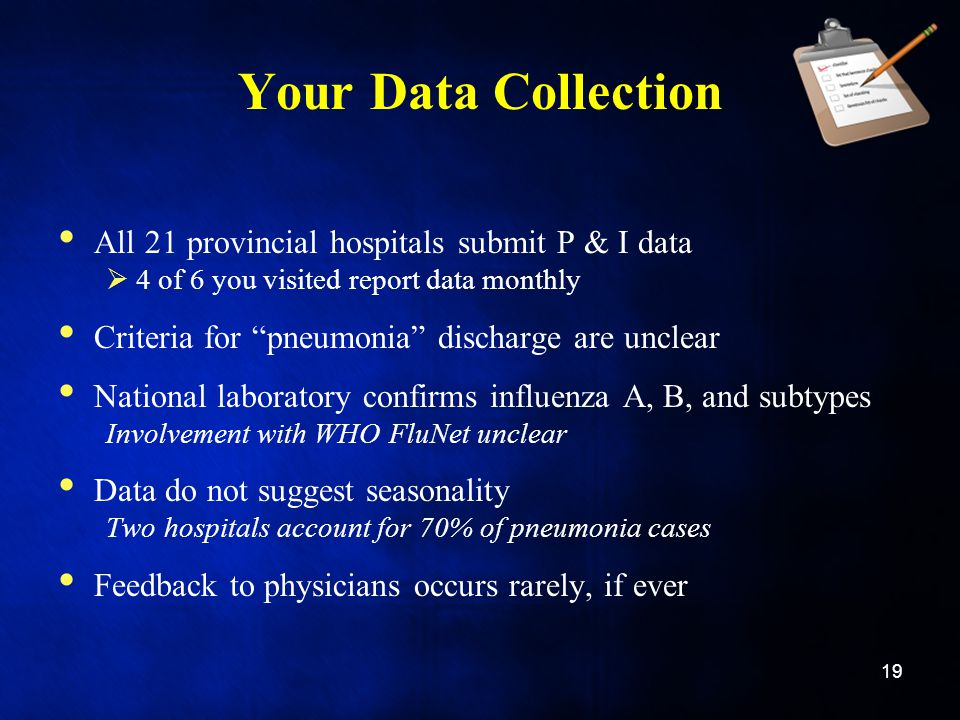 Your Data Collection All 21 provincial hospitals submit P & I data