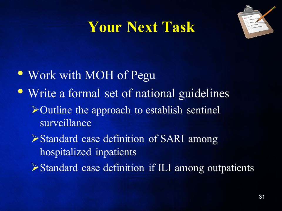Your Next Task Work with MOH of Pegu