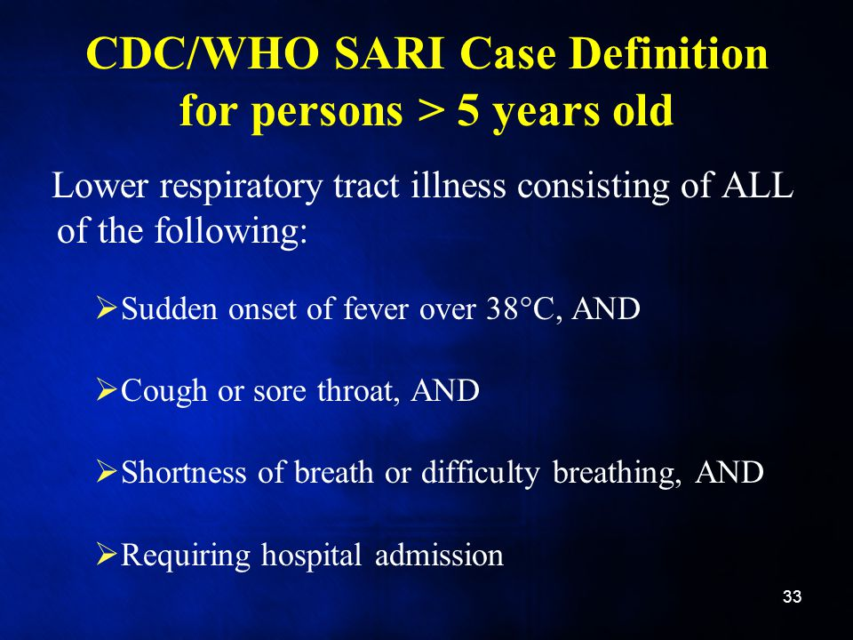 CDC/WHO SARI Case Definition for persons > 5 years old