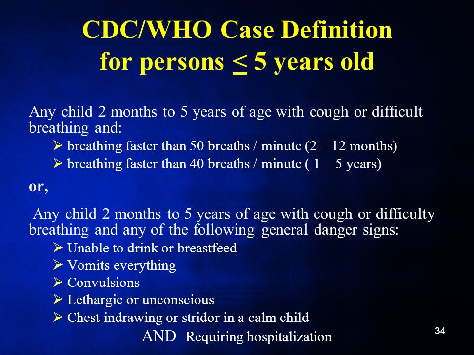 CDC/WHO Case Definition for persons < 5 years old