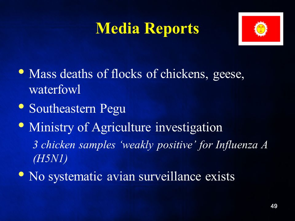 Media Reports Mass deaths of flocks of chickens, geese, waterfowl