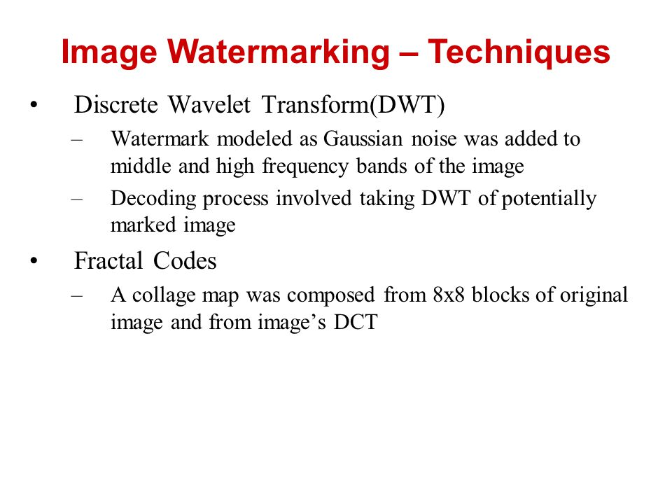 Image Watermarking – Techniques
