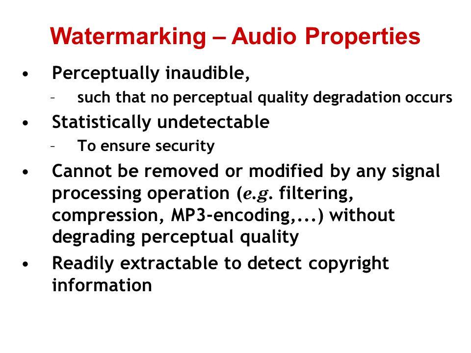 Watermarking – Audio Properties
