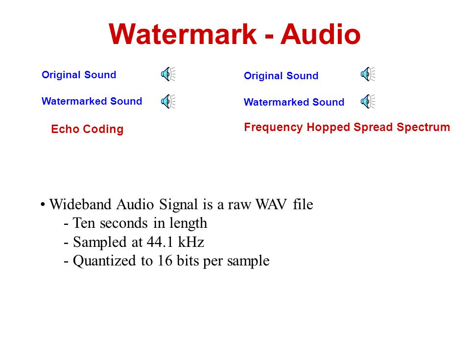 Watermark - Audio Wideband Audio Signal is a raw WAV file