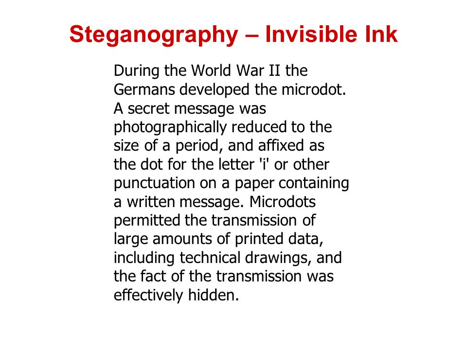 Steganography – Invisible Ink