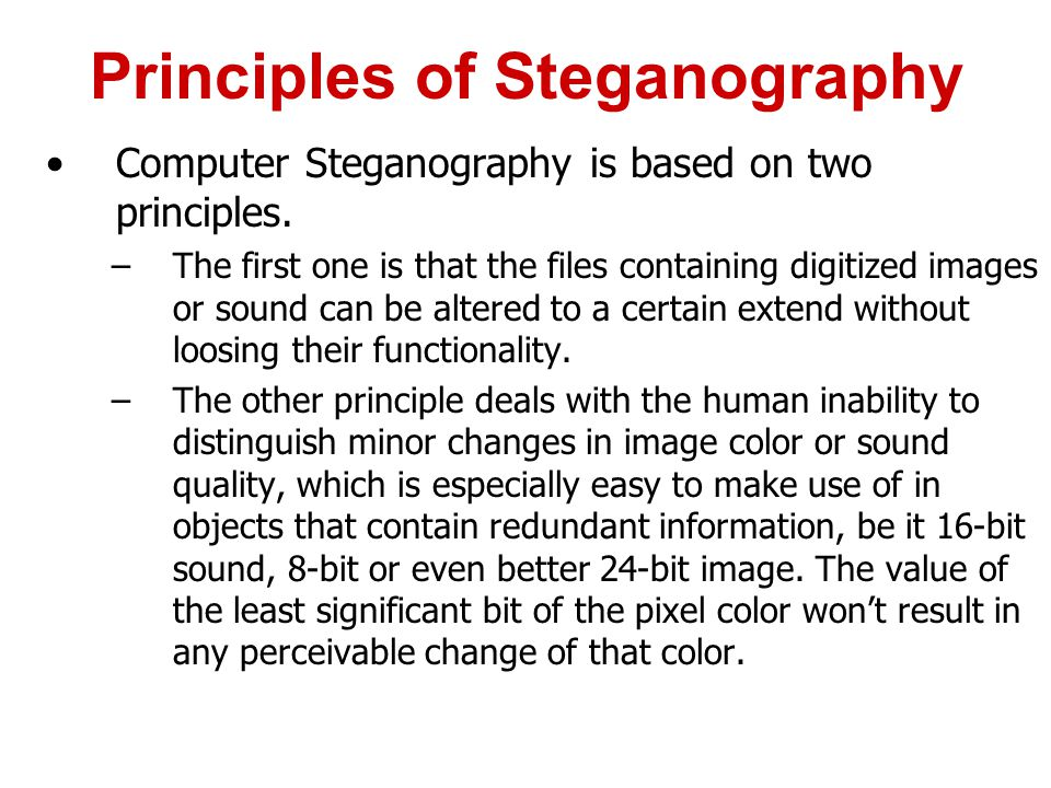Principles of Steganography