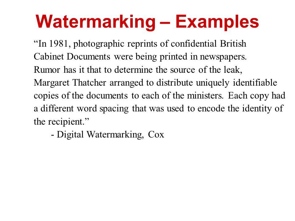 Watermarking – Examples