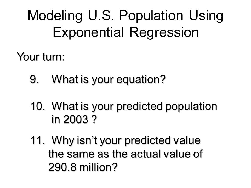 Modeling U.S. Population Using Exponential Regression