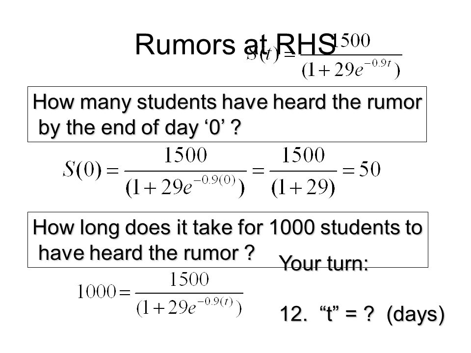 Rumors at RHS How many students have heard the rumor