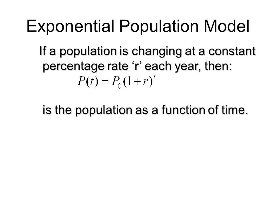 Exponential Population Model