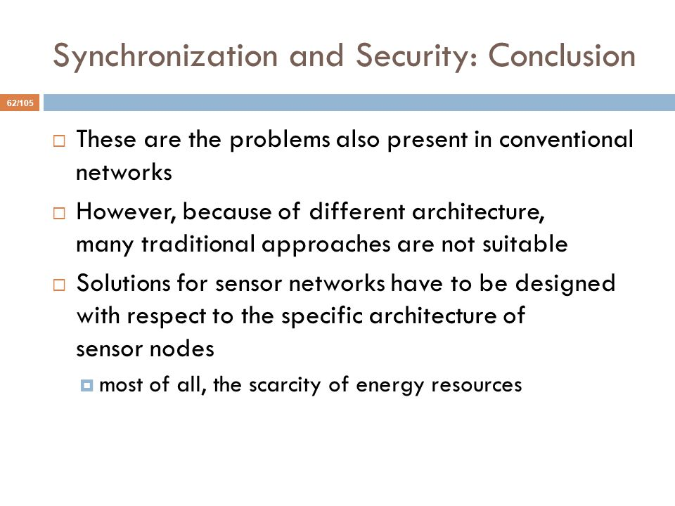 Synchronization and Security: Conclusion