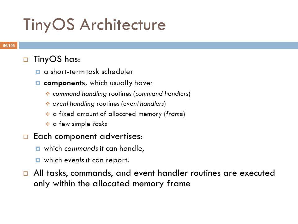 TinyOS Architecture TinyOS has: Each component advertises: