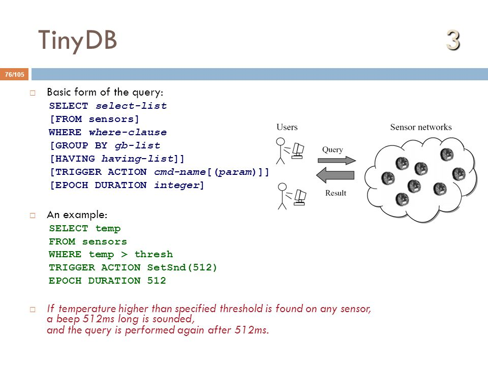 TinyDB 3 Basic form of the query: An example: