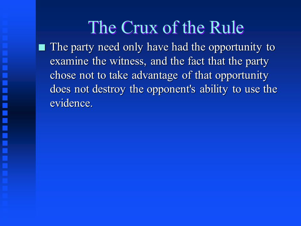 The Crux of the Rule