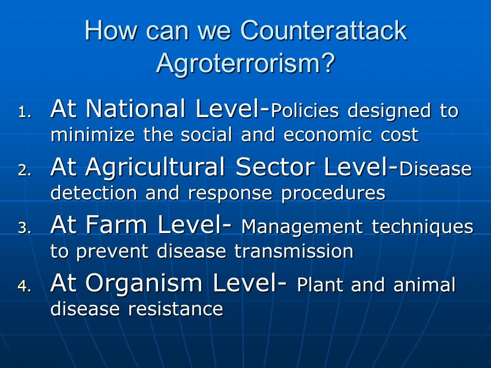 How can we Counterattack Agroterrorism