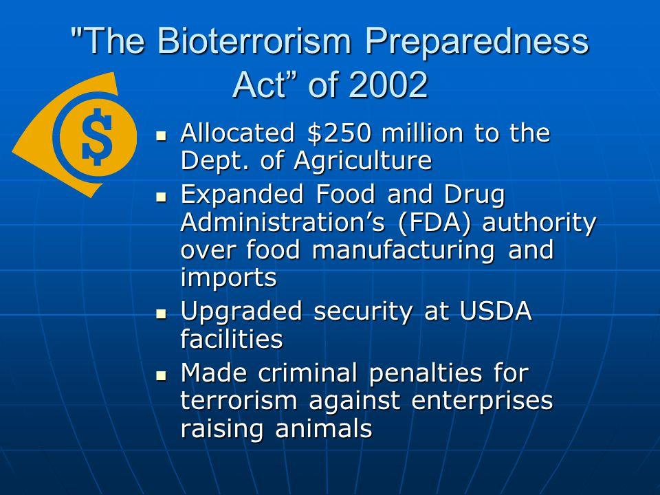 The Bioterrorism Preparedness Act of 2002