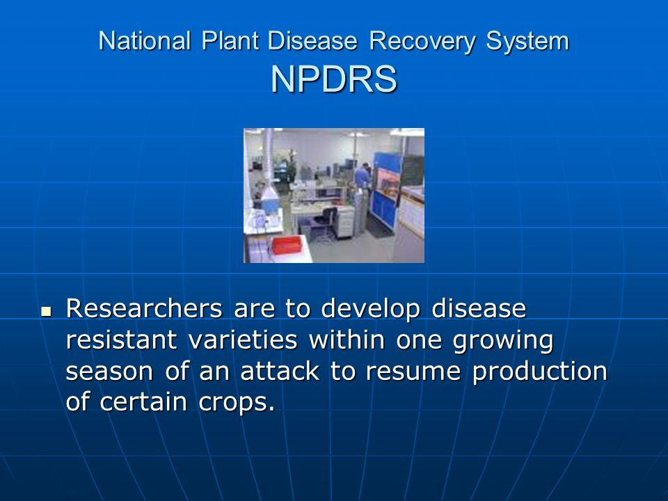National Plant Disease Recovery System NPDRS
