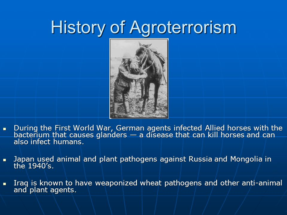 History of Agroterrorism