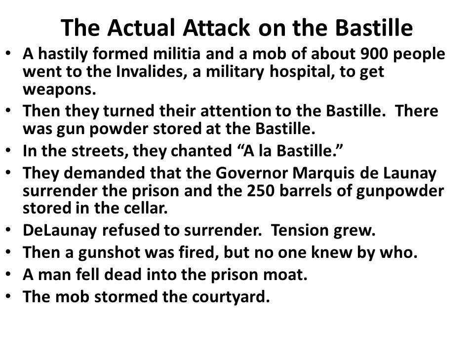 The Actual Attack on the Bastille
