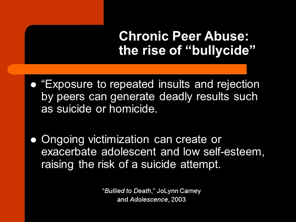 Chronic Peer Abuse: the rise of bullycide