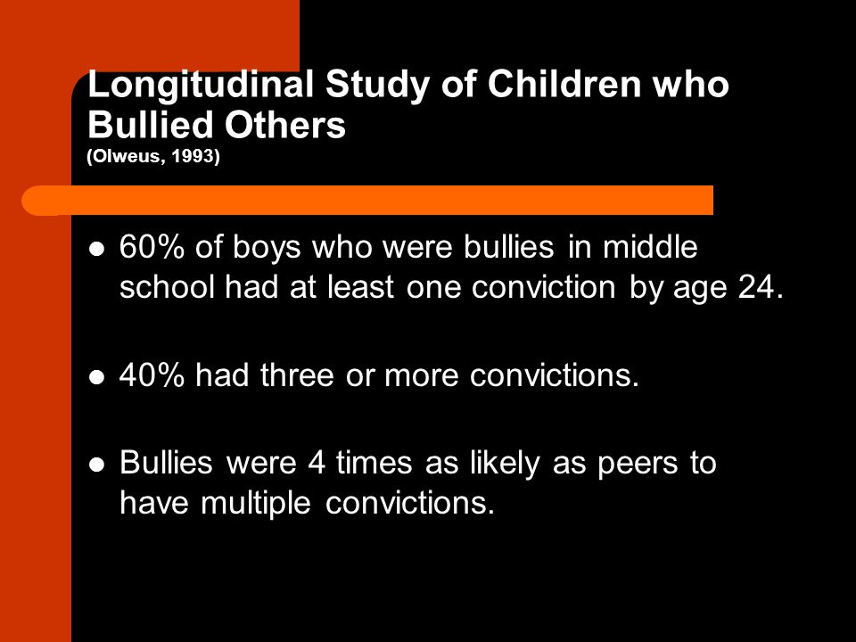 Longitudinal Study of Children who Bullied Others (Olweus, 1993)