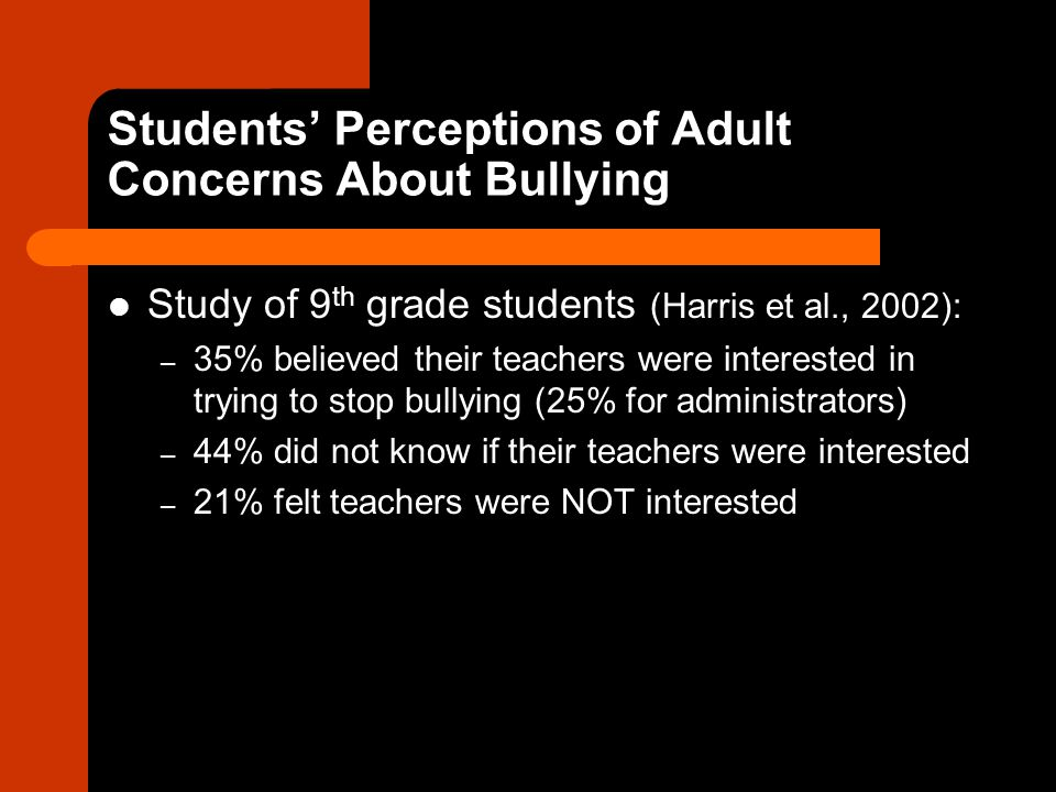 Students' Perceptions of Adult Concerns About Bullying