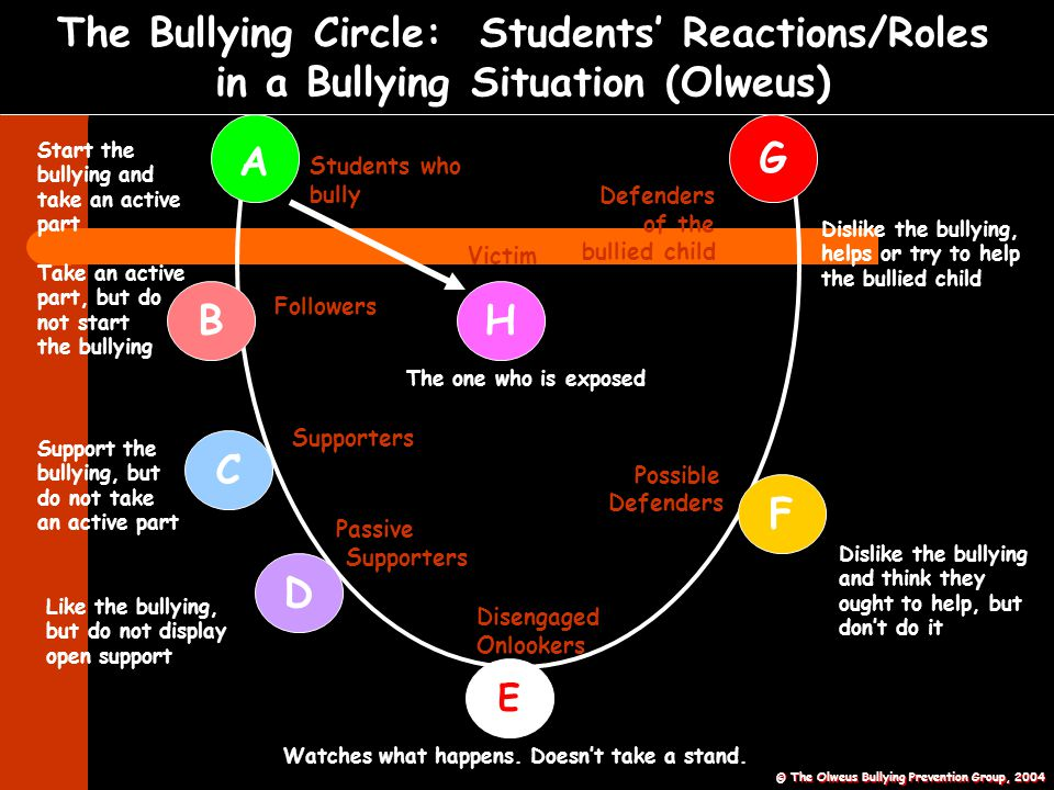 The Bullying Circle: Students' Reactions/Roles in a Bullying Situation (Olweus)