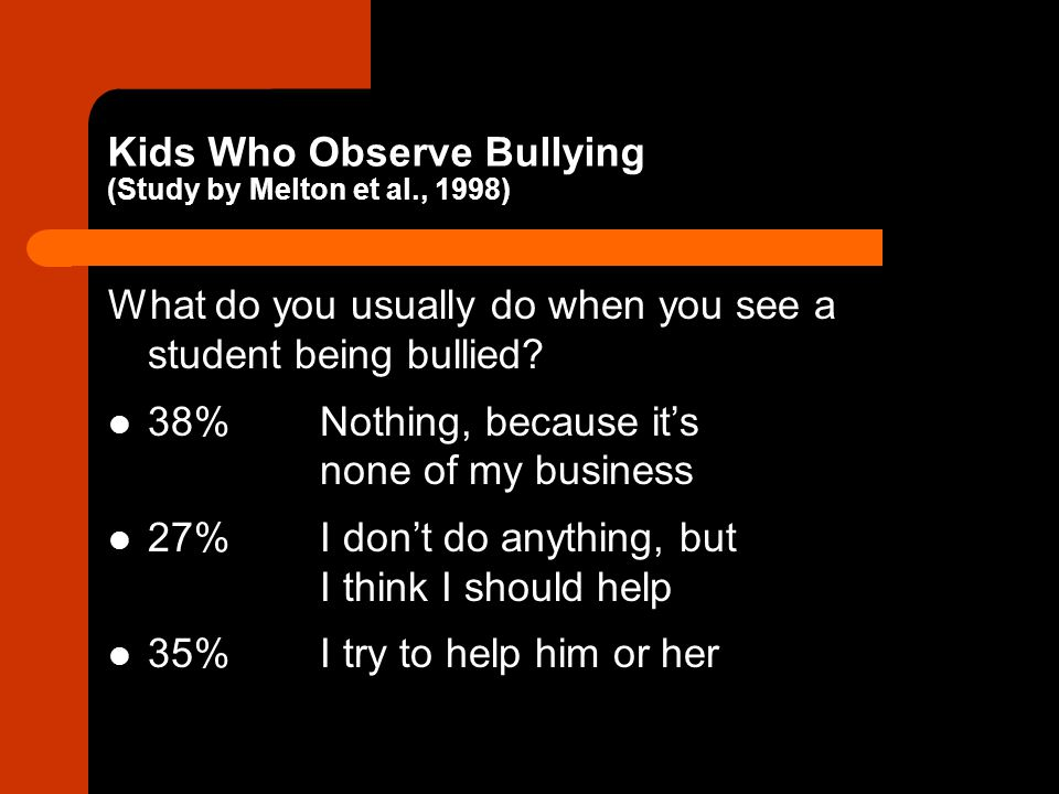 Kids Who Observe Bullying (Study by Melton et al., 1998)