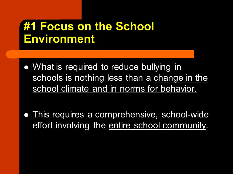 #1 Focus on the School Environment