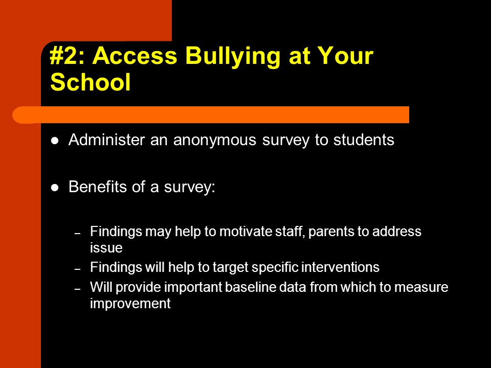 #2: Access Bullying at Your School