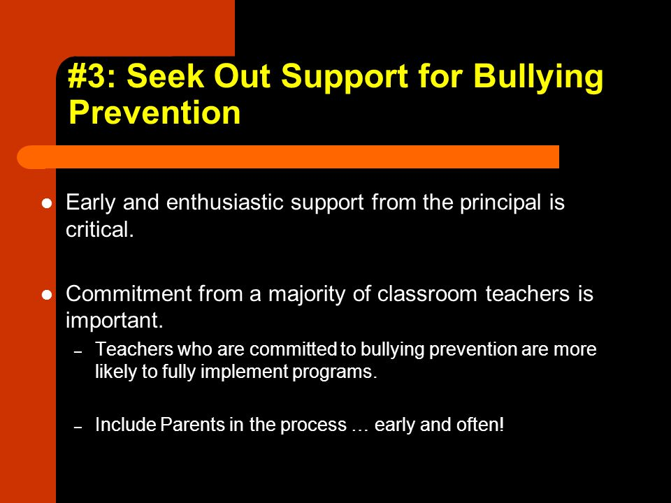 #3: Seek Out Support for Bullying Prevention