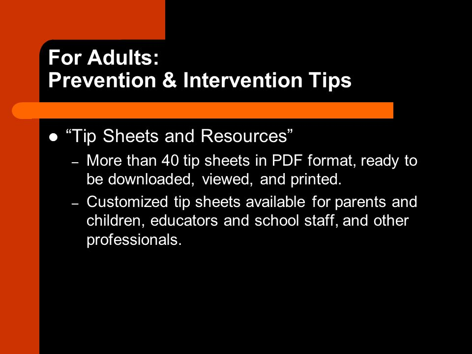 For Adults: Prevention & Intervention Tips
