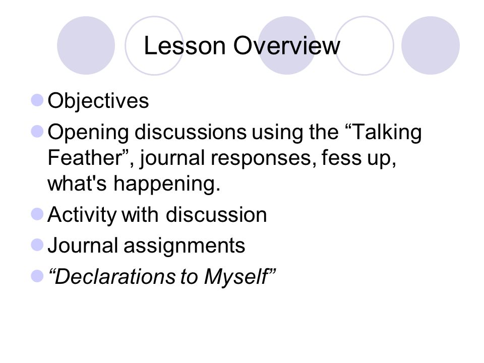 Lesson Overview Objectives