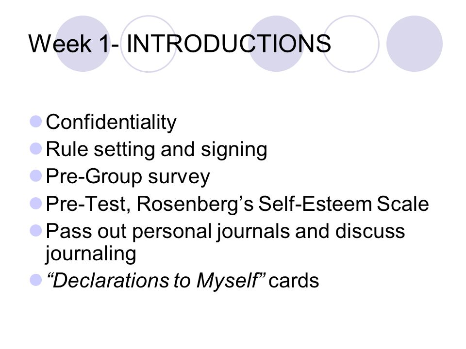 Week 1- INTRODUCTIONS Confidentiality Rule setting and signing