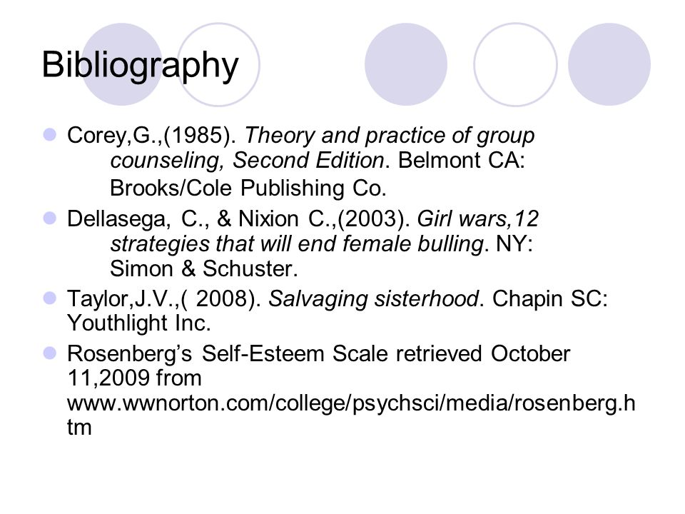 Bibliography Corey,G.,(1985). Theory and practice of group counseling, Second Edition. Belmont CA: Brooks/Cole Publishing Co.