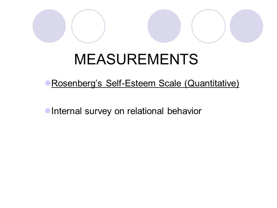 MEASUREMENTS Rosenberg's Self-Esteem Scale (Quantitative)