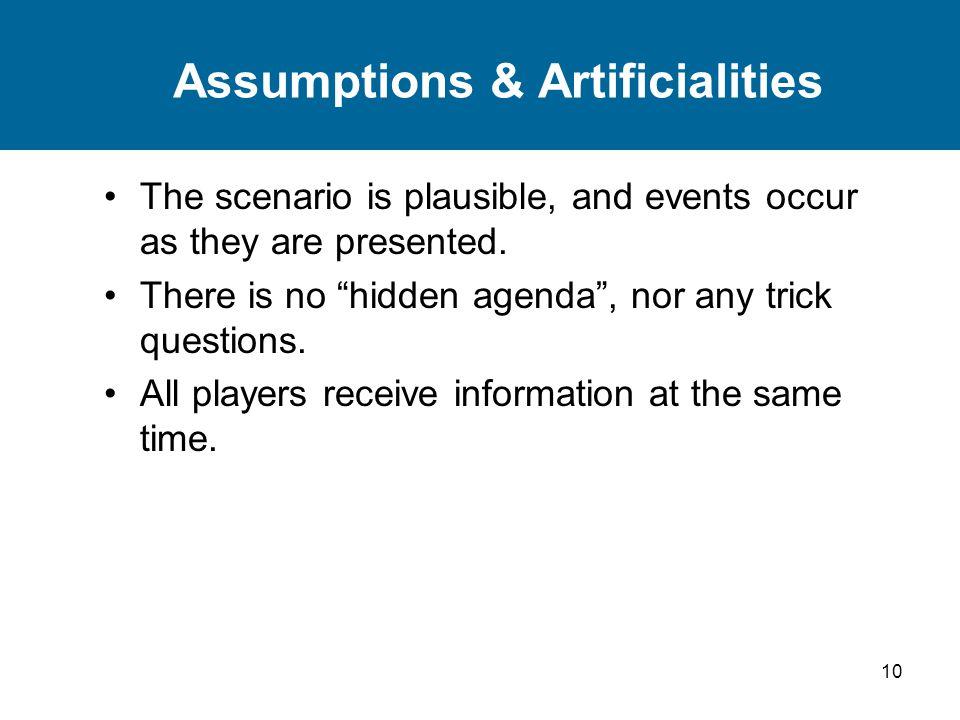 Assumptions & Artificialities