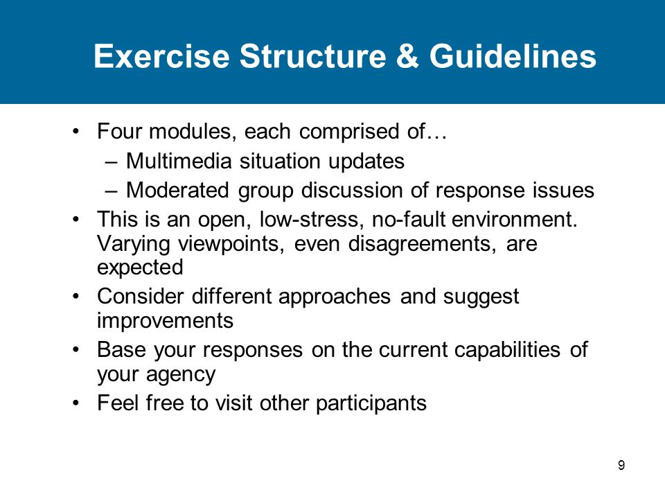 Exercise Structure & Guidelines