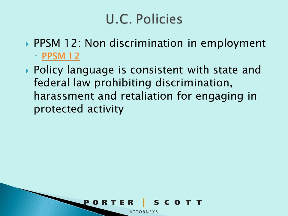 U.C. Policies PPSM 12: Non discrimination in employment