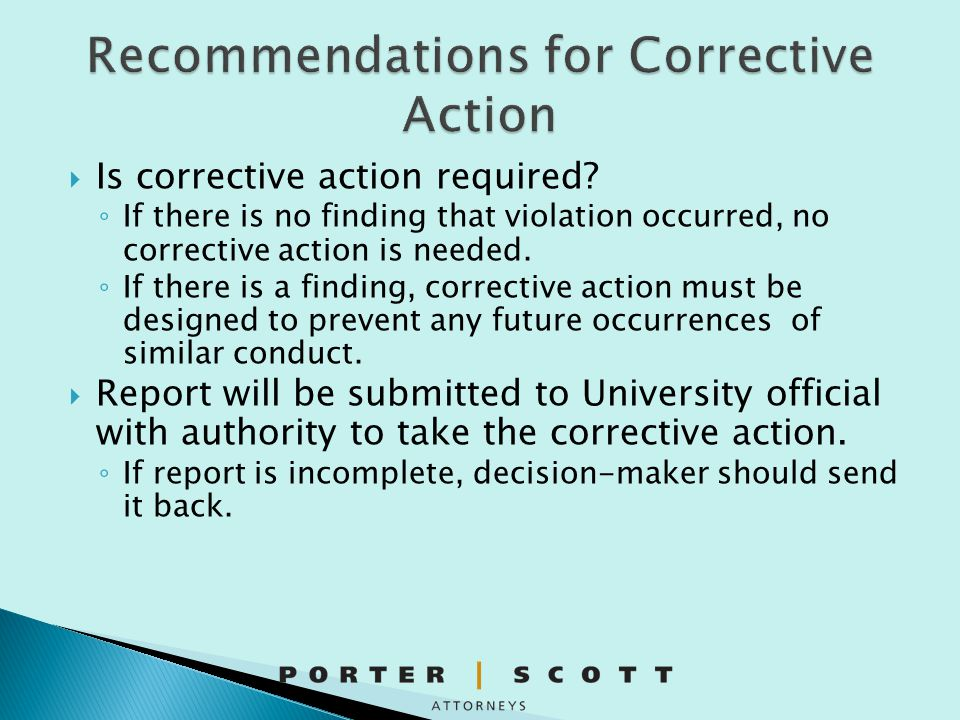 Recommendations for Corrective Action