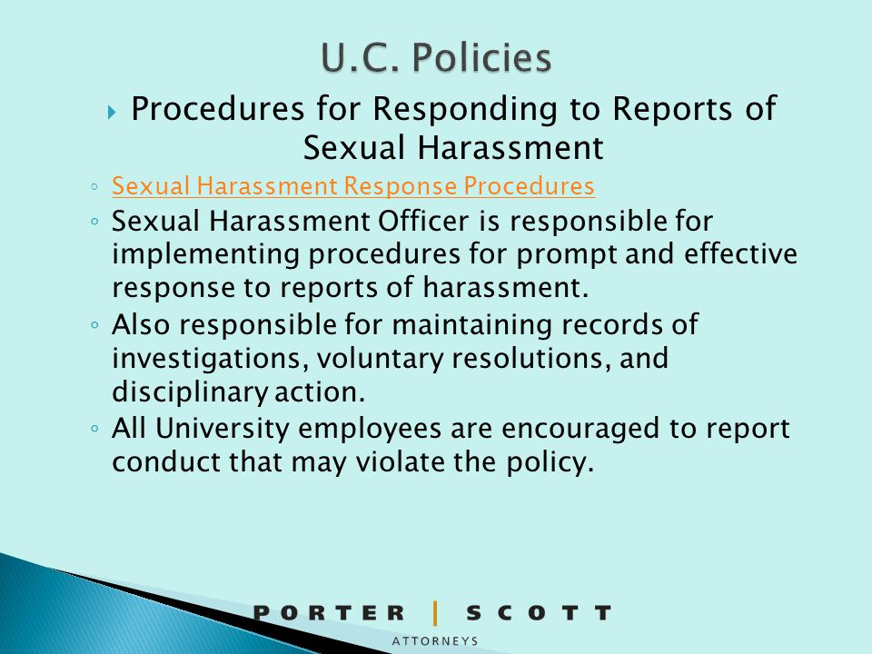 Procedures for Responding to Reports of Sexual Harassment